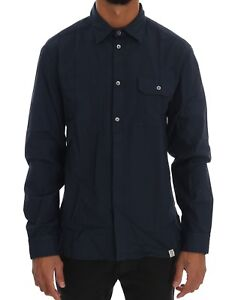 NEW GALLIANO Blue Casual Cotton Long Sleeve Shirt Top Mens s. IT52/ US42/XL