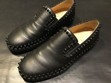 CHRISTIAN LOUBOUTIN BLACK CALF FLAT SPIKES SIZE 40.5 US 7.5 SNEAKERS SHOES SPIKE