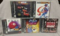 5 Sport Games Lot - Playstation 1 2 PS1 PS2 Nascar Boxing Bowling Pool Baseball
