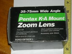 Toyo Optics 35-75mm Wide Angle Pentax Mount Zoom Lensf/3.5-4.8