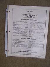 1958 Evinrude Big Twin 35 HP Electric Outboard Motor Parts List 25936  25937  U