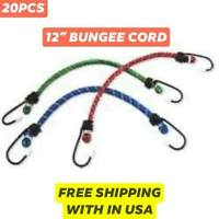 "NEW 20PK 12"" Rubber Bungee Cord w/ Hooks Elastic Tie Down Strap FREE SHIPPING"