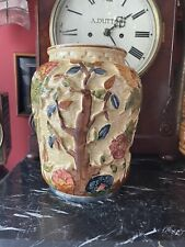 """More details for lovely h j wood indian tree large 8 1/4"""" hand painted vase #573 early version."""