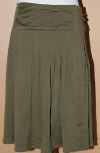 Cordelia Green Skirt Lightweight Wool Knit Pleated Accents Anthropologie 6