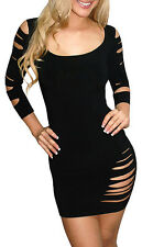 SEXY BLACK CLUB WEAR MINI DRESS SLASHED RIPPED WIGGLE PARTY SIZE 8 10 12