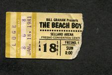1981 Beach Boys Concert Ticket Stub Selland Arena Fresno Ca Surfin Usa