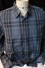 $50 retail Men's Alfani Blue Gray Plaid dress button up shirt size Large NWT