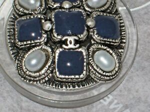 CHANEL 3 METAL CC LOGO  BLUE GLASS PEARL BUTTON 16 MM / OVER 1/2 '' NEW LOT 3