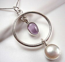 Amethyst Cultured Pearl Hoop Necklace 925 Sterling Silver Double Gem Stone New