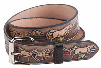 "Mens Leather Belt 1.5"" 40mm Horse Pattern Buckle Strap Belts Made in the UK"