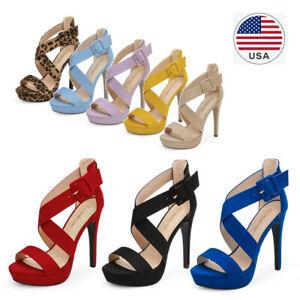 Women High Heel Stilettos Heel Sandals Open Toe Wedding Party Dress Shoes