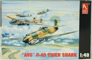 Hobby Craft 1:48 AVG P-40 Tiger Shark Plastic Airplane Model Kit #1451U1