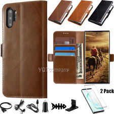 For Samsung Galaxy Note 10 plus Case Leather Wallet Flip Cover Screen Protector