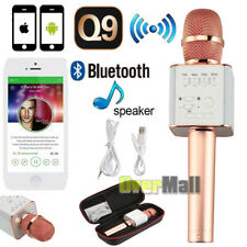Upgraded Q9 Wireless Bluetooth Karaoke Microphone Speaker Portable Home Ktv Rose