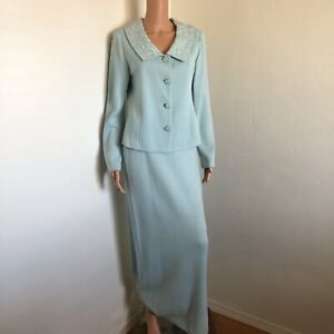 ST JOHN EVENING 8 Long Skirt Suit Seafoam Green Sparkly Crystal Embroidered