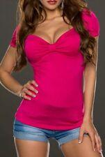 ♥ SeXy Damen Top Schleifen Dekollete MiSS Trendy StYle Shirt 34/36/38 pink Neu