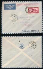 FRENCH INDOCHINA LAOS 1933 AIRMAIL 11c to VIETNAM FIRST AIR SERVICE
