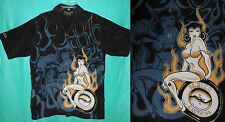 NIKKI SIXX Dragonfly M Black Pin-up Tattoo Rockabilly Shirt Top Hot Rod Rocker