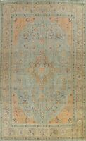 Vintage Tebriz Overdyed Hand-knotted Area Rug Evenly Low Pile Wool Oriental 9x13