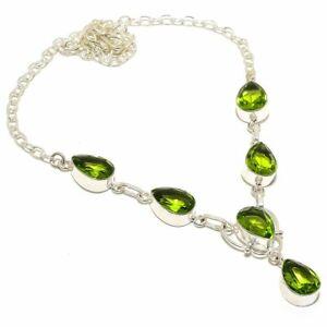 "Peridot Gemstone Handmade Ethnic Silver Jewelry Necklace 18"" RN449"