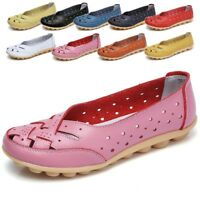 Womens Ladies Soft Leather Work Casual Ballet Slip On Loafer Flat Shoes Driving
