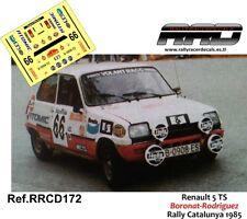 DECAL/CALCA 1/43; Renault 5 TS; Boronat-Rodriguez; Rally Catalunya 1985