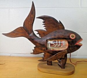 Wood fish ship in bottle lamp folk art Nautical Maritime Outsider Art vintage