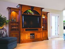 Amish Breckenridge TV Entertainment Center Solid Wood Wall Unit Cabinet Storage