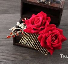 Red Rose Ivory Pearl Gold Tone Wedding Bridal Hair Comb Headpiece Accessories