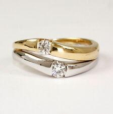 Zweifarbiger Ring in 585 Gelbgold/Weissgold mit Brillant 0,30 Carat, weiss, si