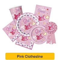 PINK CLOTHESLINE - New Baby Shower Girl PARTY RANGE (Decorations & Tableware)