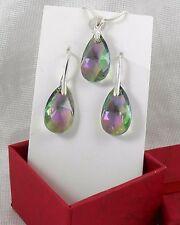 Swarovski Kristallen Ohrringe Halskette Set  Silber 999 Reinheit plattierte PR