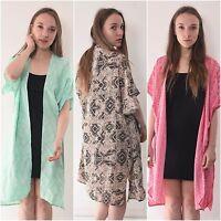 Long Kimono Boho Tribal Print Ladies Blazer Size 6-16 Jacket Coat