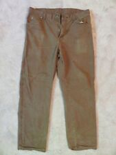 Worn/Holes DICKIES Dungaree PANTS 34x32 Dark Brown Cell Pocket Crust Punk Patch