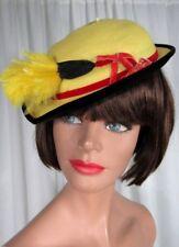 Vintage 1940s Yellow Straw Hat Velvet Trim Feather Ken Blair