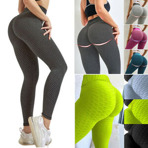 Women Yoga Pants Anti-Cellulite Leggings Sports Gym Honeycomb Trousers Plus Size