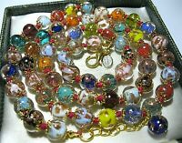 "Rainbow Venetian Murano Glass Gold Foil Bead Vintage Style 25"" Long NECKLACE"
