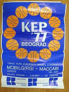 poster basketball MACCABI MOBILGIRGI VARESE Euroleague final 1977 Belgrade Yug