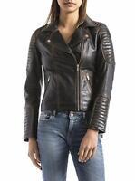 Women's Distressed Black Cafe Racer Moto Biker Vintage Real Leather Jacket-BNWT