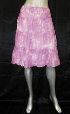 TALBOTS Purple/White Abstract Print Side Zipper/Tie Tiered Full Skirt sz 6