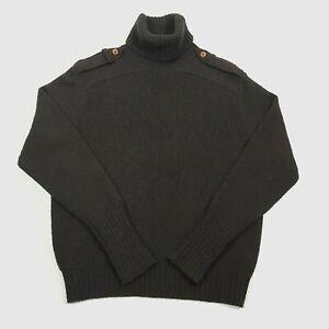 H&M STUDIO Womens Roll Neck Jumper S Brown Button Tab Shoulder Wool Camel Soft