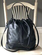 NWT! COLE HAAN Zerogrand Stagedoor Black Leather Hobo Convertible Shoulder Bag