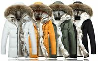 Mens Big Fur Collar Hooded Thick Goose Down Jacket Outerwear Overcoat Coats New