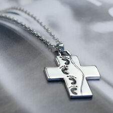 Silver Baby Child Footprints Prayer Jewelry Memory Chain Cross Pendant Necklace