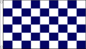 3' x 2' Navy Blue and White Check Flag Chequered Checkered Team Sports Banner