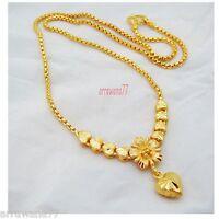 Heart Flower 22K 23K 24K THAI BAHT YELLOW GP GOLD NECKLACE Jewelry