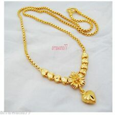 Baht Yellow Gp Gold Necklace Jewelry Heart Flower 22K 23K 24K Thai