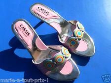 escarpins sandale sexy T38 années 60 70 roses chaussures shoes retro 38 - 70's !