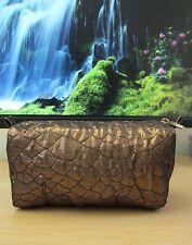 Lancome Dark Bronze Quilt Organza Barrel Cosmetic Bag Purse