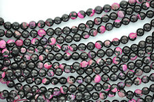 1 Strand Round Faceted Hot PINK and BLACK AGATE Beads, 10mm gag0095